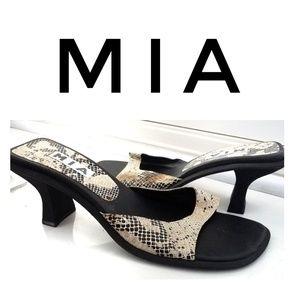 🐞🐞Mia tan snakeskin peep toe sandals size 10M